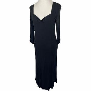 Isabella Bird Black Stretch Rayon 3/4 Sleeve Dress